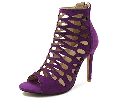 Sandali Con Classici Eleganti Colore JC Purple Nero Tacco Di Misura Tacchi Bocca Pesce Alto Marrone 37 37 Viola Cava Alti A 1Fdwq5d