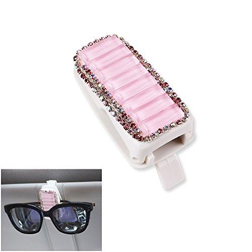 Mini-Factory Car Visor Sunglasses Clip Holder Bling Pink Crystal Diamond Glasses Accessories for Girls & Women