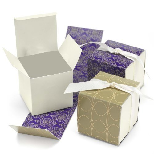 Hortense B. Hewitt Reversible Damask Wrap Favor Boxes Wedding Accessories, Taupe and Purple, Set of 25