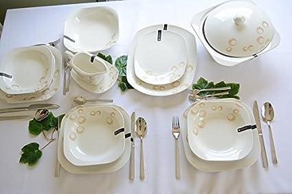 Juego de 43 piezas Vajilla de porcelana, varios Variante, porcelana, Claire - Beige
