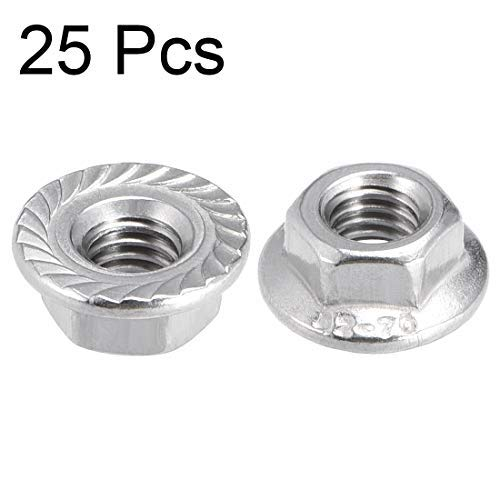 M5 Toothed Flange Hexagonal Safety Nuts 304 Stainless Steel 25 Pieces