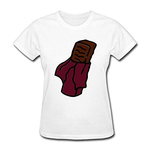 SHMUY Women's Candy Bar Cotton Round Collar T Shirt,XL,White