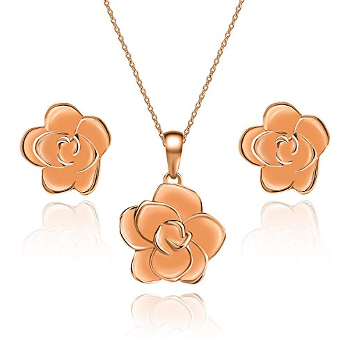 EVEVIC Rose Flower Necklace Earrings Set for Women Girls 18K Gold Plated Jewelry Sets (Peach Fuzz/Rose -