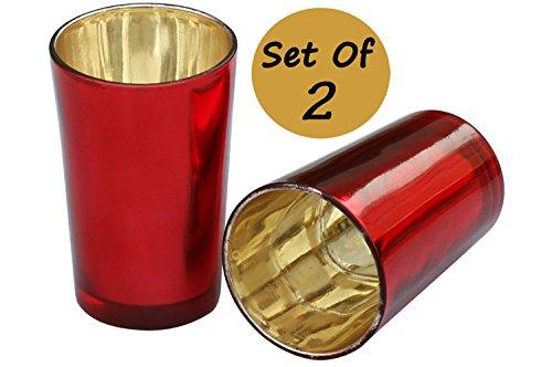 "Set of 2 Tealight Holder - 3.5"" Candle Glass Tea Light Votive Holders - Handmade Decorative Centerpiece - Home Decor"