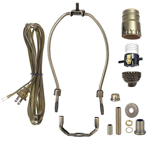 B&P Lamp Antique Brass Finish Table Lamp Wiring Kit With 10 Inch Harp, Push-Thru Socket ()