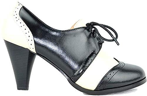 Two Tone Dora - Chase & Chloe Dora-5 Two Tone Lace up Low Heel Women's Oxford (9 B(M) US, Black/White Polka Dot)