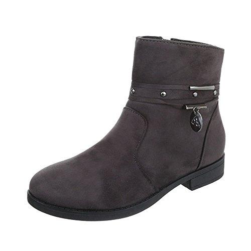 Women's Boots Block Heel Classic Ankle Boots at Ital-Design Grey B9nPeWA