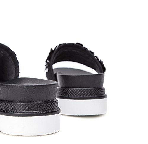 Sandalias de de de Tacón Verano Altos Dulces bajo Ocasionales de Sólido Punta 35 Color Tacones DHG Zapatillas Negro Planas Mujer Sandalias de Moda de Sandalias UZxHqOzw