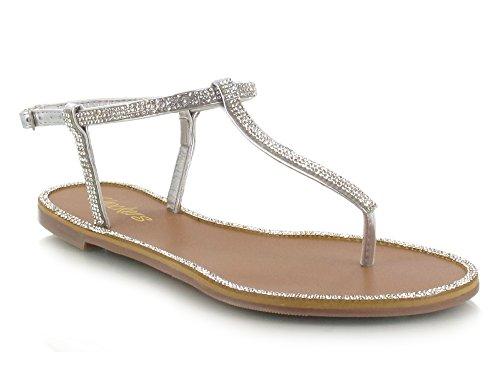 Bar Post Silver Diamante Flat Pretty Toe Rhinestone T Girls Ladies Womens Diamante Sandals Wn8z7YqPEw