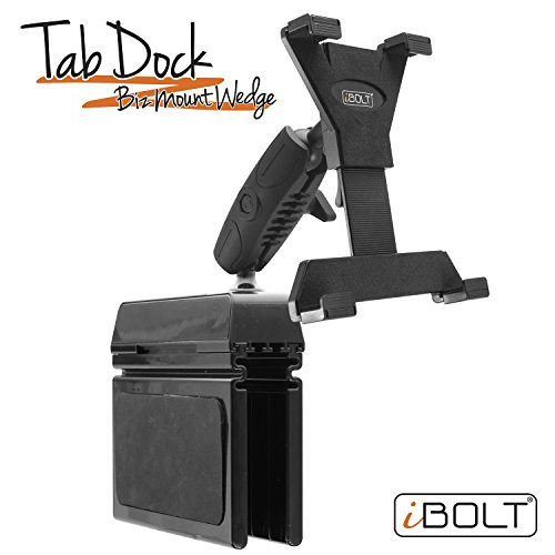 iBOLT TabDock Bizmount Wedge - Heavy Duty Vehicle Console mount for all 7'' - 10'' tablets (iPad, Nexus, Samsung Tab). Great for work, personal, and business vehicles by iBOLT