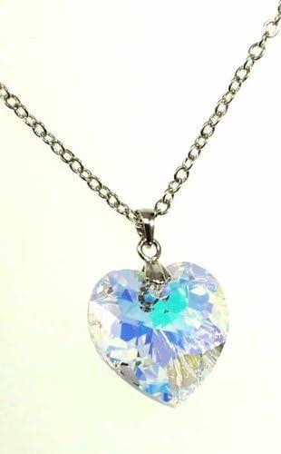 Pendentif Cœur Cristal irisé Swarovski Aurore Boreale (Hauteur avec bélière  2,5 cm) + Chaine 46 cm + 5 cm