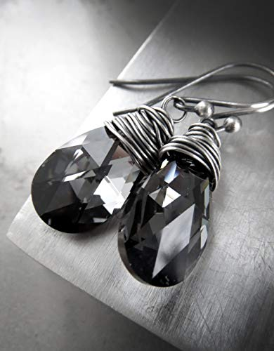 Black Diamond Briolette Earring - Black Teardrop Crystal Earrings, Dark Gray Swarovski Crystal with Oxidized Sterling Silver Wire Wrap
