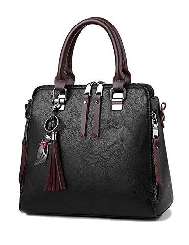 ZCM Bag Damen Messenger Bag Wave Version der Mode lässig Schulter Messenger Handtaschen (3 Farbe optional) Schwarz KpVGn65