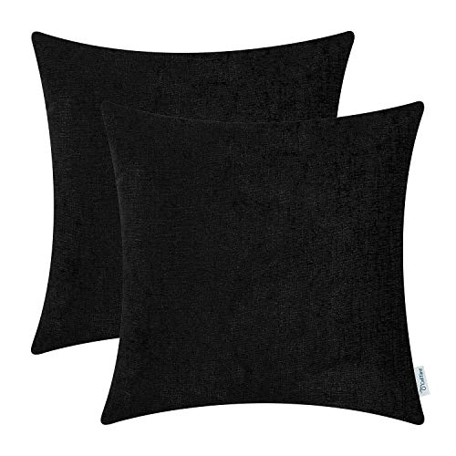 Cheap CaliTime Pack of 2 Cozy Throw Pillow Covers Cases for Couch Sofa Home Decoration Solid Dyed Soft Chenille 20 X 20 Inches Black