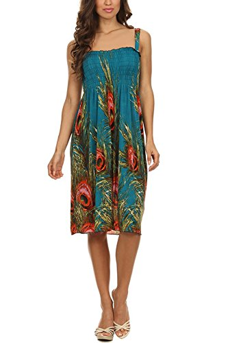 Womens Teal Peacock Feather Fashion Smocked Midi Dress (X-Large)