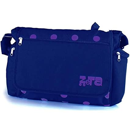 Zeta Luxury Complete Changing Bag with Changing Mat (Plum Dots, Large)