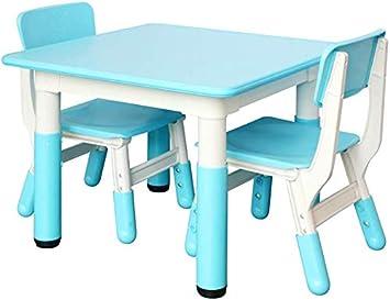 CTC Juego de mesa y silla para niños/niños, escritorios y sillas de plástico para el hogar/jardín de infantes, uso en interiores/Azul/Mesa dos sillas: Amazon.es: Bricolaje y herramientas