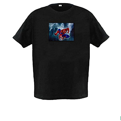 Led Sound Activated El T-shirt - Sound Activated Flashing Light LED T-shirt Spider Man