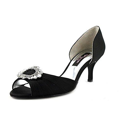 Nina Peep Toe Heels (Nina Womens Crystah Peep Toe D-orsay Pumps, Black, Size 9.5)