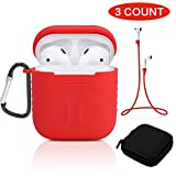 Tutor AirPods Silicone Case Shock Proof Protecitive Cover and Anti-lost Strap and Headphone Case for Apple AirPods (Red)