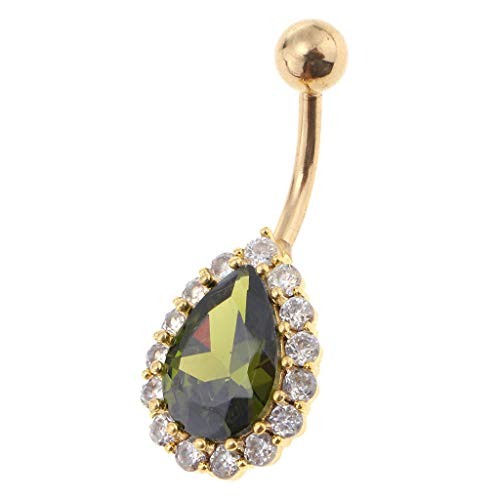 (14G Belly Button Rings Water Drop Cubic Zirconia Navel Rings for Women Girls (Color - Gold + Green))