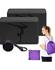 Yoga Blocks 2 Pack With Strap, Higher Density Eva Foam Blocks, Yoga Strap & Yoga Bag, Yoga Starter Kit For Women, Durable and Sturdy, Perfect For Yoga, Pilates, Daily exercise Or Physical Therapy.