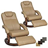 RecPro Charles 28' RV Euro Chair Recliner Modern Design RV Furniture (2, Toffee)