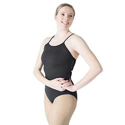 HDW DANCE Ballet Leotard for Women Gymnastics Cotton Mesh Medium Back Medium Black