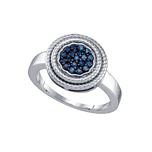 Sterling Silver Womens Round Blue Colored Diamond Concentric Milgrain Cluster Ring 1/4 Cttw by JAWAFASHION