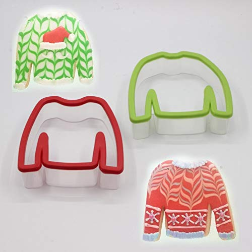 - 1 piece 1pc Grandma Ugly Sweater Chevron Cookies Biscuits Molds Cutters T shirt modeling Sugar craft fondant DIY Moulds embossers tools