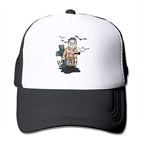Halloween Boo Crime Scene Trucker Hat Snap Back Sun Mesh Baseball Cap Hip Hop Flat Hats for Men and Women Black -