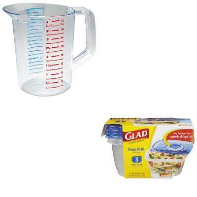 KITCOX70045PKRCP3216CLE - Value Kit - Glad GladWare Plastic Deep Dish Containers with Lids (COX70045PK) and Rubbermaid-Clear Bouncer Measuring Cups 1 Quart ()