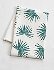 Organic Tea Towel - Palm Design - Flour Sack Cotton - Green