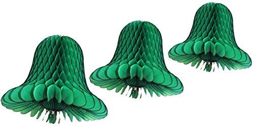 3-Piece Tissue Paper Bells, Dark Green, 9-15 Inch