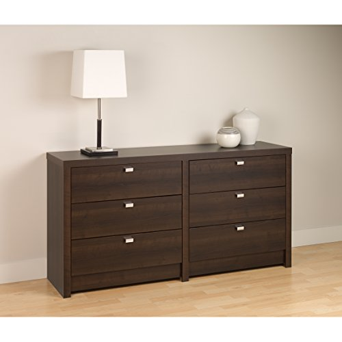 Brown Designer Vanity - Series 9 Designer - 6 Drawer Dresser Espresso