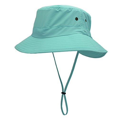 LLmoway Outdoor UPF50+ Summer Sun Cap Lightweight Packable Dry Fit Bora Boonie Hat with Cords AQU by LLmoway (Image #1)