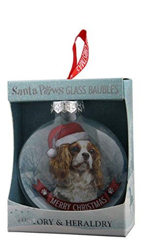 (Santa Paws Glass Ornaments Santa Paws Glass Bauble - Cavalier King Charles Spaniel Ornament, Multi)