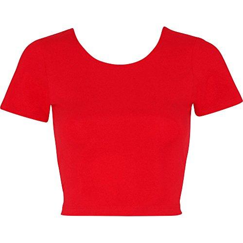 T Spandex Apparel Crop Jersey ladies Cotton Red shirt Womens American q0RwAw