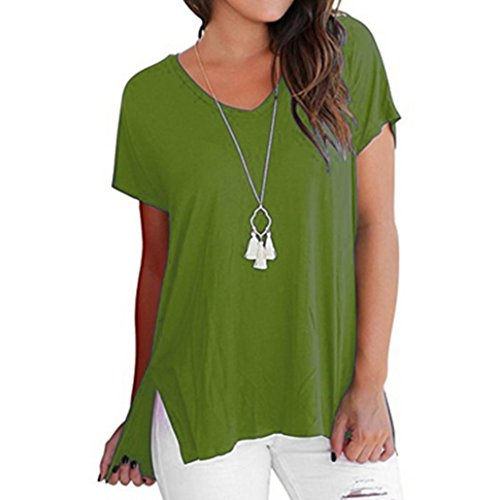 Grossa Donna Moda Blouse Donna Shirt Corta Plus Taglia Canottiera Size Da T Manica Casual Verde Maglietta Oyedens Top Tees Cerniera Estate Camicetta Abbigliamento Shirt Uvqn8ER