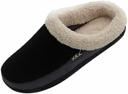 Vonmay Men's Wool Plush Fleece Lined Slip On Memory Foam Clog House Slippers Indoor / Outdoor
