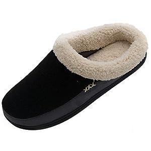 Men's Slippers Fuzzy House Shoes Memory Foam Slip On Clog Plush Wool Fleece Indoor Outdoor
