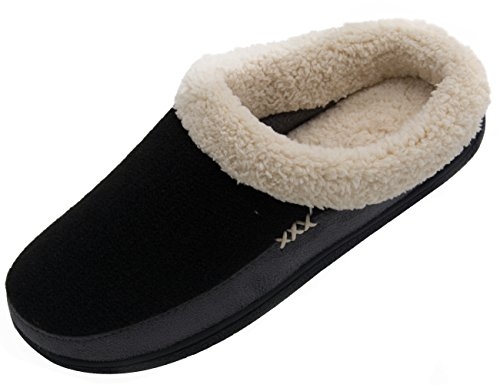 Vonmay Men's Wool Plush Fleece Lined Slip On Memory Foam Clog House Slippers Indoor / Outdoor