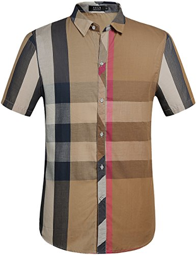 SSLR Men's Casual Short Sleeve Stripe Patch Shirt (Medium, Coffee 2)