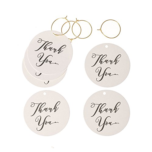 Funny Christmas Gift Tags (Ling's moment Thank You Tags Kraft Paper Hang Gift Tags for Wedding Favors Teacher Graduation Birthday Bridal Boy Girl Baby Shower Pack of 24 with Free Gold Wire)