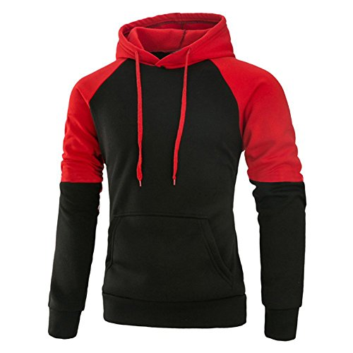 Mooncolour Mens Contrast Color Pullover Hoodie Cozy Sport Outwear