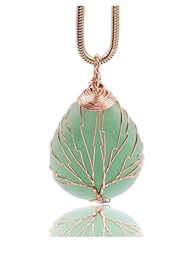 Think Positive Natural Healing Crystal Gemstones Pendant Snake Chain Necklace for Women Pink Gold (Aventurine ()