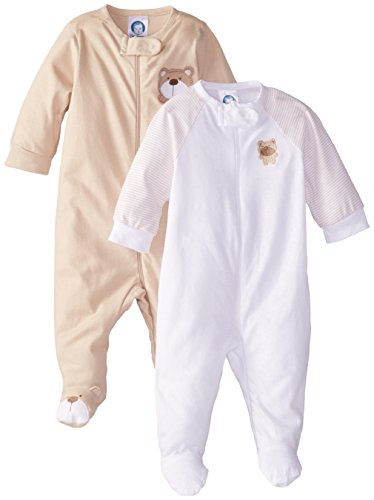 Gerber Unisex Baby 2 Pack Zip Front Sleep 'N Play, Bear Brown, Newborn