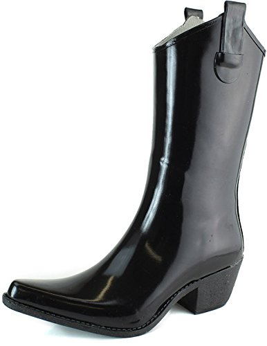 DailyShoes Cowboy Black Solid Prints High Heel Rain Boots,8
