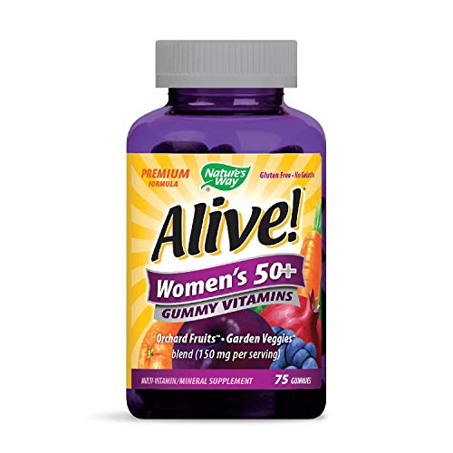 Nature's Way Alive! Women's 50+ Premium Gummy Multivitamin, Fruit and Veggie Blend (150mg per serving), Full B Vitamin Complex, Gluten Free, Made with Pectin, 75 Gummies (Packaging may - 50 Chewable