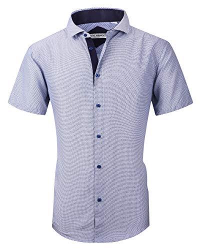 (Joey CV Mens Short Sleeve Dress Shirts Regular Fit Cotton Casual Button Down Shirt(Blue940,XXLarge))